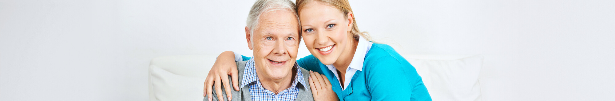 elderly and woman smiling