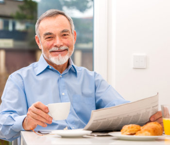 elderly man smiling
